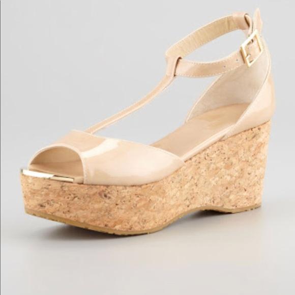 jimmy choo shoes authentic pania patent cork wedges poshmark rh poshmark com